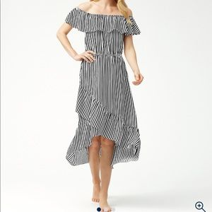 Tommy Bahama Off The Shoulder Flounce Midi Dress